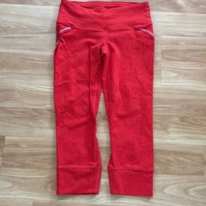 Athleta red knicker Capri leggings size XS